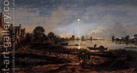 River View by Moonlight by Aert van der Neer - Reproduction Oil Painting