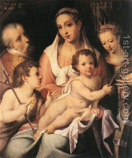 Holy Family with the Infant St John the Baptist and St Catherine of Alexandria by Bartolomeo Passerotti - Reproduction Oil Painting