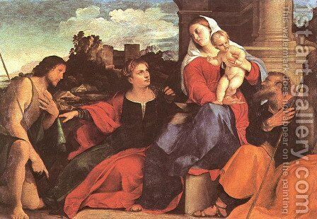 Sacred Conversation by Jacopo d'Antonio Negretti (see Palma Vecchio) - Reproduction Oil Painting