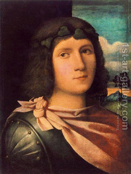 Portrait of a Young Man by Jacopo d'Antonio Negretti (see Palma Vecchio) - Reproduction Oil Painting