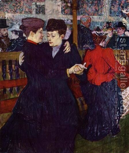At the Moulin Rouge: the Two Waltzers by Toulouse-Lautrec - Reproduction Oil Painting