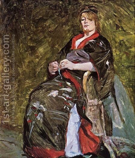 Lili Grenier in a Kimono by Toulouse-Lautrec - Reproduction Oil Painting