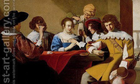 An Interior With Soldiers Drinking And Smoking by Jacob van, the Elder Oost - Reproduction Oil Painting