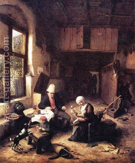 Inside a Peasant's Cottage by Adriaen Jansz. Van Ostade - Reproduction Oil Painting