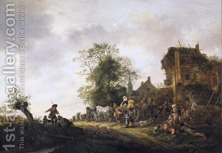 Travellers at a Country Inn by Isaack Jansz. van Ostade - Reproduction Oil Painting