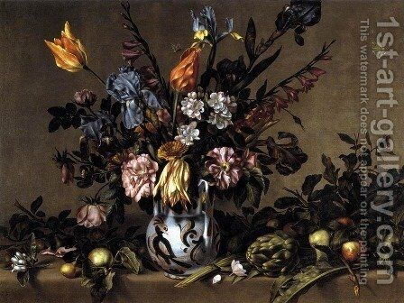 Still-Life with Flowers, Artichokes and Fruit by Antonio Ponce - Reproduction Oil Painting
