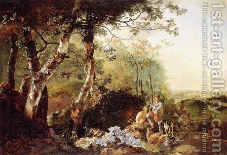 Landscape with Hunters by Adam Pynacker - Reproduction Oil Painting