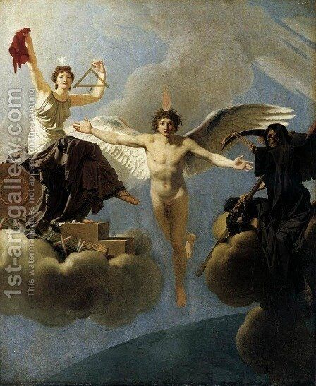 The Genius of France between Liberty and Death by Jean-Baptiste Regnault - Reproduction Oil Painting