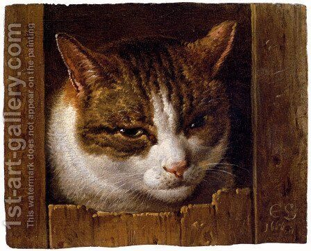 A Cat Peeping Through A Fence by Cornelis Saftleven - Reproduction Oil Painting