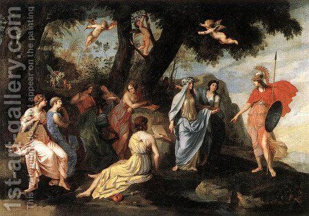 Minerva and the Muses by Jacques Stella - Reproduction Oil Painting