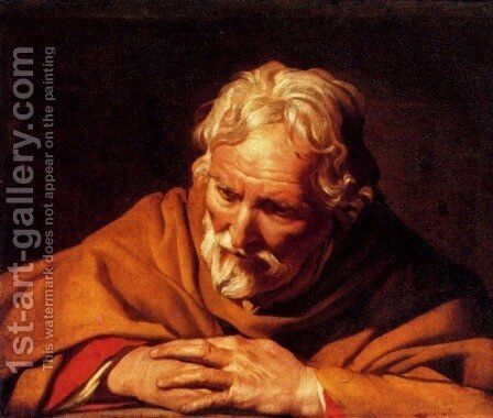 The Penitnet Saint Peter by Matthias Stomer - Reproduction Oil Painting