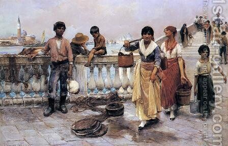 Water Carriers, Venice by Frank Duveneck - Reproduction Oil Painting