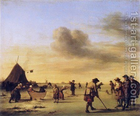 Kolf on the Ice near Haarlem by Adriaen Van De Velde - Reproduction Oil Painting