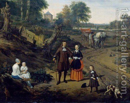 Family Portrait in a Landscape [detail #1] by Adriaen Van De Velde - Reproduction Oil Painting