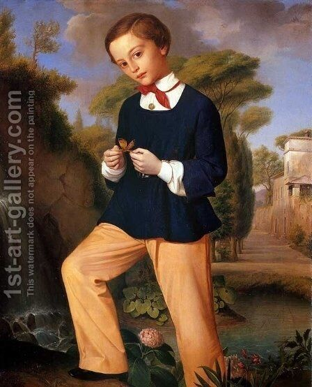 Portrait of a Boy from a Lombard noble family by Carlo Zatti - Reproduction Oil Painting