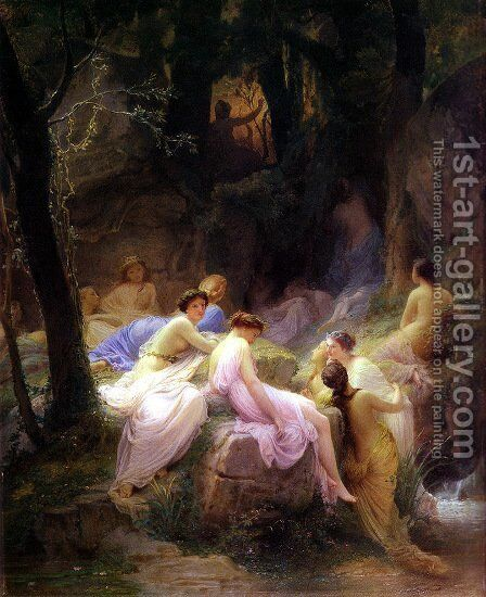 Nymphs Listening to the Songs of Orpheus by Charles François Jalabert - Reproduction Oil Painting