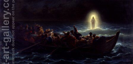 Le Christ marchant sur la mer (Christ walking on the waters) by Charles François Jalabert - Reproduction Oil Painting