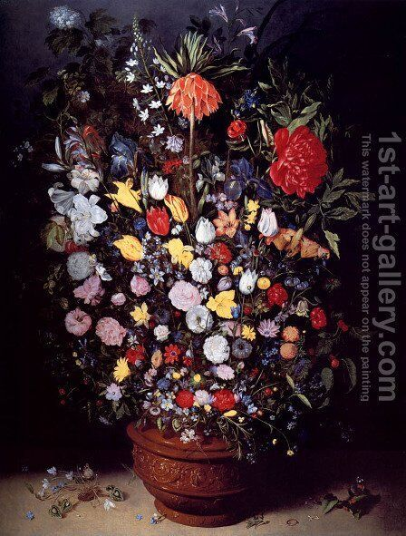 A Still Life Of A Bouquet Of Flowers In A Glazed Terracotta Pot Including Tulips, Roses, Daffodils In A Crown Imperial Fritillary by Jan, the Younger Brueghel - Reproduction Oil Painting