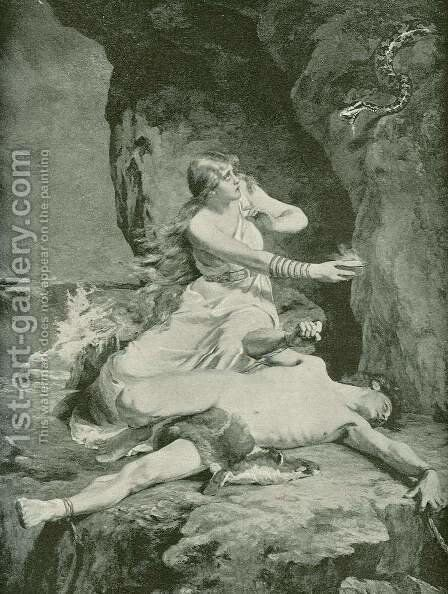 Loki and Sigyn by Carl Gebhardt - Reproduction Oil Painting