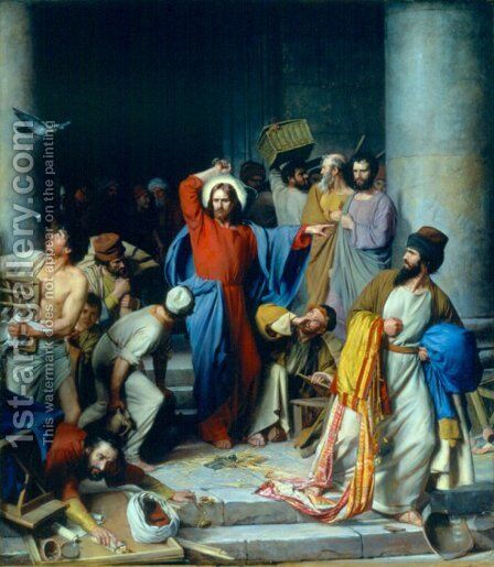 Casting out the Money Changers by Carl Heinrich Bloch - Reproduction Oil Painting