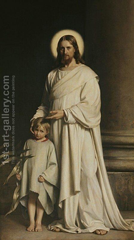 Christ and a Boy by Carl Heinrich Bloch - Reproduction Oil Painting