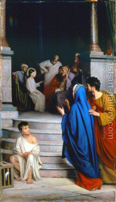 Christ Teaching at the Temple by Carl Heinrich Bloch - Reproduction Oil Painting