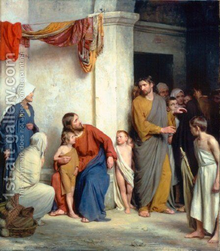 Christ with Children by Carl Heinrich Bloch - Reproduction Oil Painting