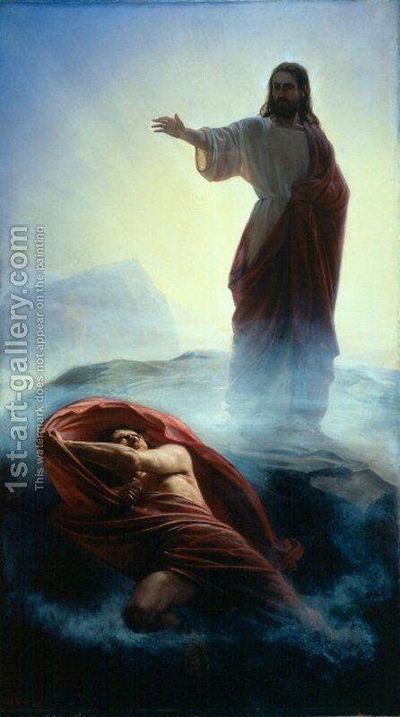 Denying Satan by Carl Heinrich Bloch - Reproduction Oil Painting
