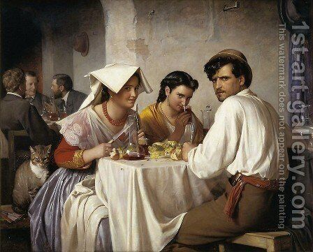 Osteria by Carl Heinrich Bloch - Reproduction Oil Painting