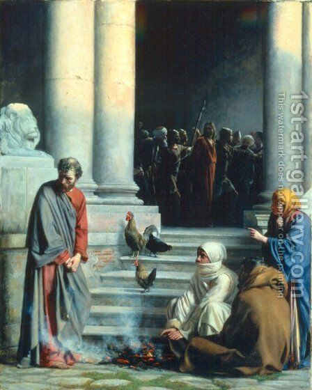 Peter's Betrayal by Carl Heinrich Bloch - Reproduction Oil Painting
