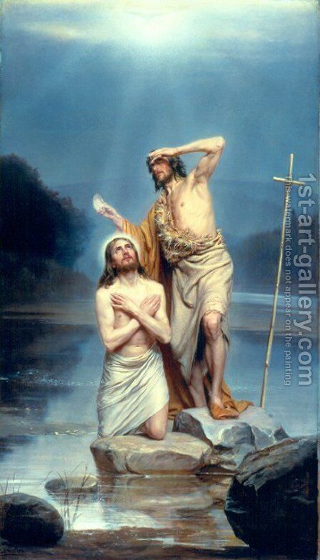 The Baptism of Christ by Carl Heinrich Bloch - Reproduction Oil Painting