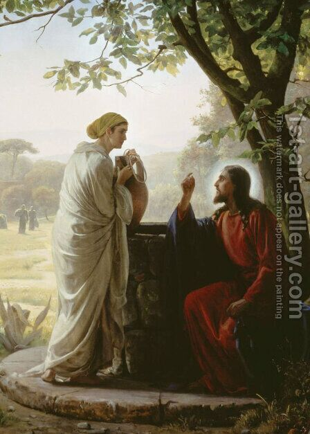 Woman at the Well by Carl Heinrich Bloch - Reproduction Oil Painting