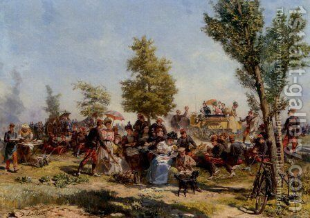 Independence Day Festival by Charles-Dominique-Oscar Lahalle - Reproduction Oil Painting