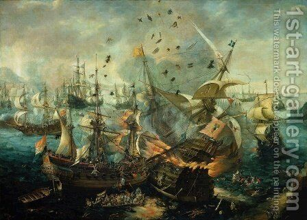Explosion of the Spanish Flagship in the Battle of Gibraltar, 1607 by Cornelis Claesz van Wieringen - Reproduction Oil Painting
