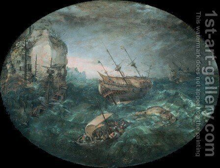 Shipwreck off a Rocky Coast by Adam Willaerts - Reproduction Oil Painting