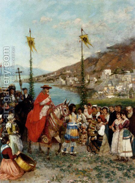 The Cardinal's Arrival by Mario Spinetti - Reproduction Oil Painting