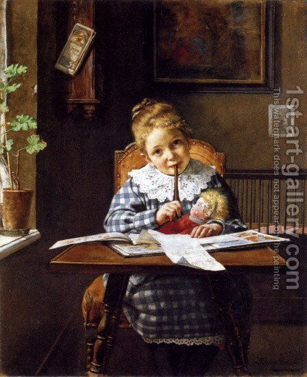 The Letter by Hermann Lang - Reproduction Oil Painting