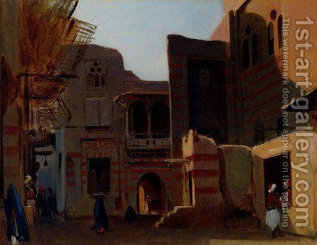 A Street In Old Cairo by Jean-Baptiste-Adolphe Gibert - Reproduction Oil Painting