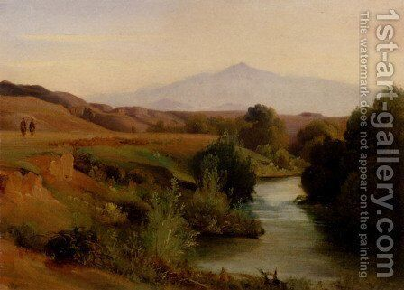 A View Of The Roman Campagna by Jean-Baptiste-Adolphe Gibert - Reproduction Oil Painting