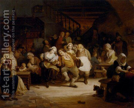 Figures In A Tavern by August De Wilde - Reproduction Oil Painting
