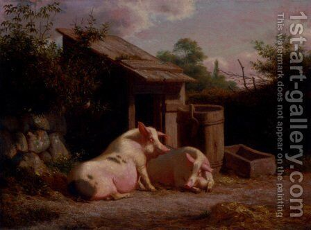 Pigs In A Farmyard by Carl Henrik Bogh - Reproduction Oil Painting