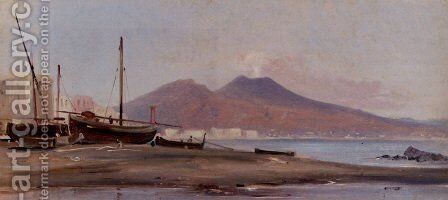 Fishing Boats Along The Sorrentine Coast With A View Of Mount Vesuvius by Alphee De Regny - Reproduction Oil Painting