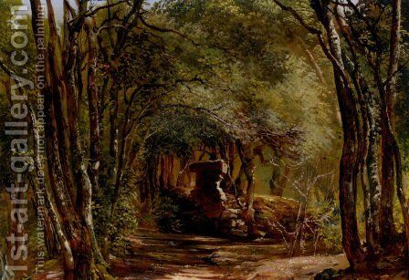 Ruins In The Forest by Giovanni-Battista Camuccini - Reproduction Oil Painting
