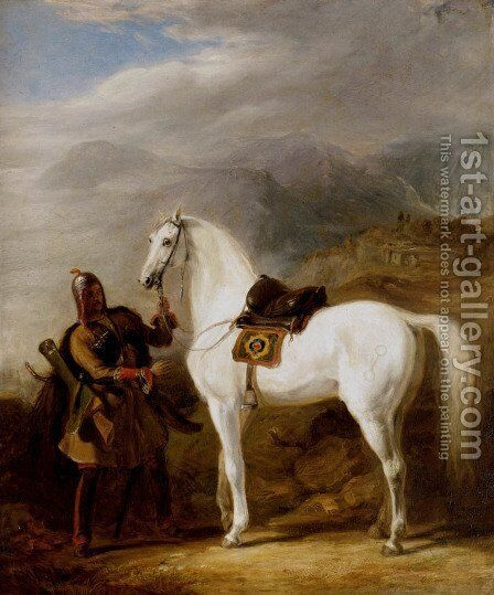 A Circassian chief preparing his stallion by Sir William Allan - Reproduction Oil Painting
