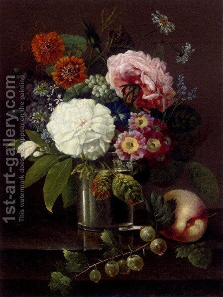Roses, marigolds, daises, primroses and other summer blooms in a glass by a peach and a sprig of gooseberries by Johan Carl Smirsch - Reproduction Oil Painting