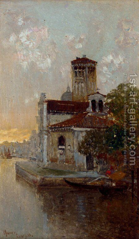 A Venetian Canal At Dusk by César María Herrer Marcher - Reproduction Oil Painting