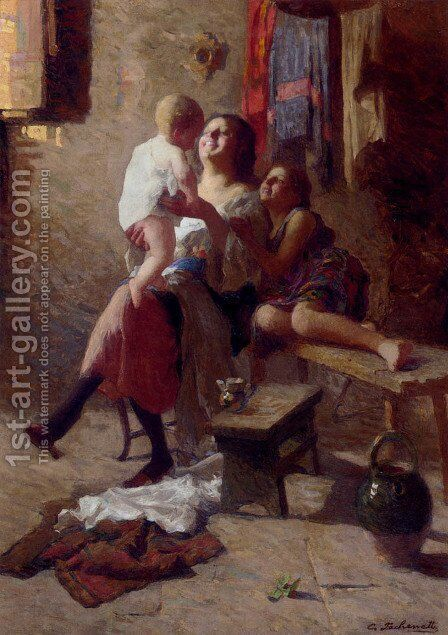 The New Arrival by Carlo Fachenetti - Reproduction Oil Painting
