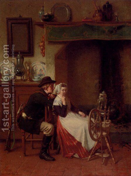 Spinning A Yarn by Ch. Van Wyngaert - Reproduction Oil Painting