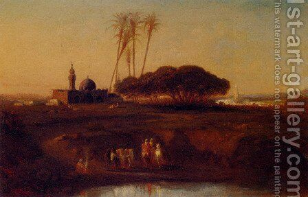 Arabs At An Oasis At Dusk by Narcisse Berchere - Reproduction Oil Painting