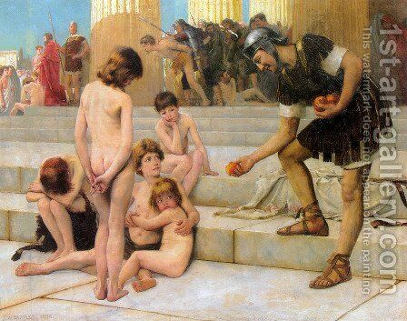 Captives in Rome by Charles William Bartlett - Reproduction Oil Painting